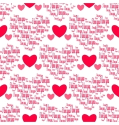 Retro seamless pattern Pink hearts and i love you vector