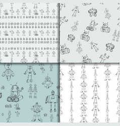 Robot doodles pattern set vector