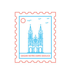 Saigan notre dame basilica postage stamp blue and vector