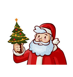 santa claus and christmas tree holiday xmas vector image