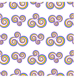 seamlass rainbow psychedelic swirl pattern vector image