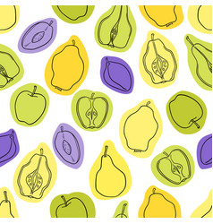 seamless fruit pattern apples pears vector image