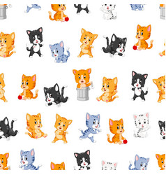 Seamless pattern with various cute cats vector
