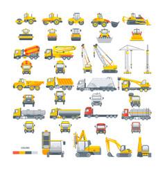 Set machinery asphalt machine vector