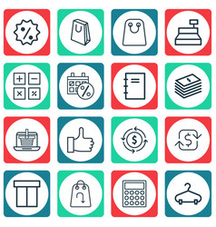 Set of 16 commerce icons includes spiral notebook vector