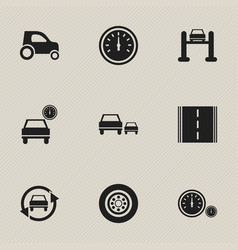 set of 9 editable transport icons includes vector image