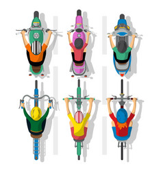 set of cartoon cyclists and motorcycles vector image