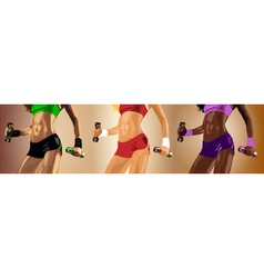 Set of three young sexy fitness women vector