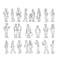 set sketch a lot of different people many vector image