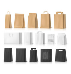 Shopping gifts and food paper bag mockups vector