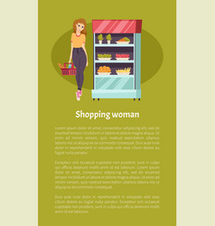 shopping woman customer basket vegetables vector image