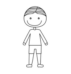 Silhouette caricature boy with t-shirt and shorts vector