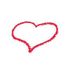 Single red heart outline chalk icon for valentine vector