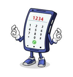 smartphone mascot typing vector image