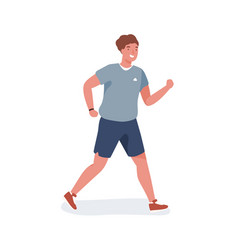 smiling young man jogging flat vector image