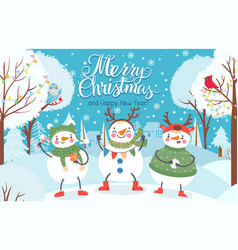 snowman cute funny snowmen in winter clothes with vector image