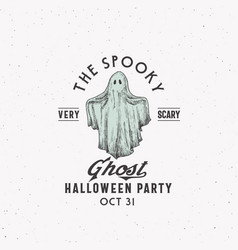 spooky ghost party halloween logo or label vector image