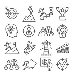 target and goal line icons on white background vector image
