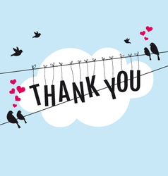 thank you with birds in the sky vector image vector image