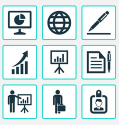 trade icons set with identification businessman vector image