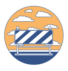 traffic barrier in circular frame with cloud vector image