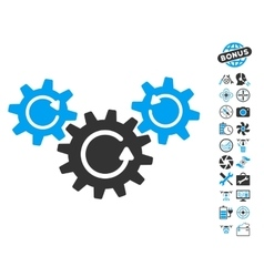 Transmission Wheels Rotation Icon With Air Drone vector