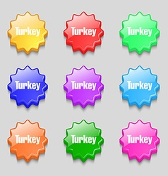 Turkey icon sign symbol on nine wavy colourful vector