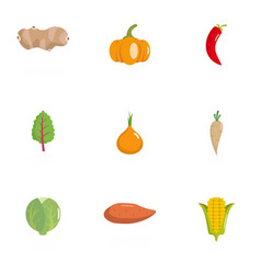 Veggie icons set flat style vector
