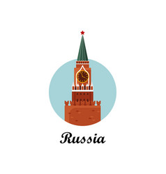 Welcome to russia the spasskaya tower on red vector