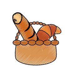 Wicker basket loaf vector