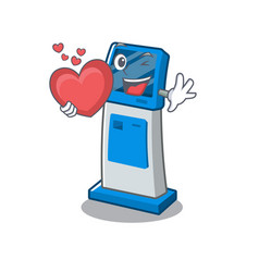 With heart information digital kiosk isolated in vector
