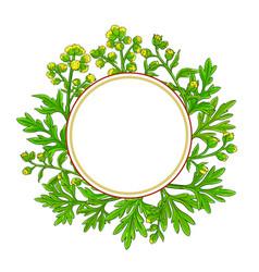 wormwood plant circle frame on white background vector image