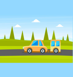 Yellow car with trailer on summer landscape vector