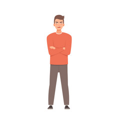 Young guy crossed his arms over his chest vector