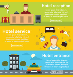 hotel service banner horizontal set flat style vector image vector image