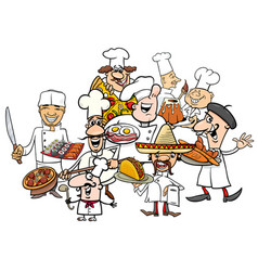 international cuisine chefs group cartoon vector image