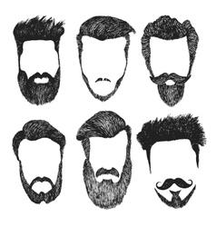 set of hipster style haircut beard vector image