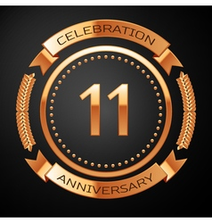 Eleven years anniversary celebration with golden vector image