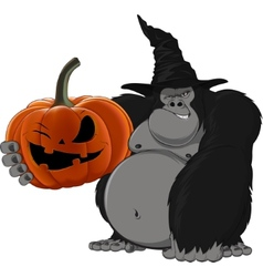 Gorilla with a pumpkin vector