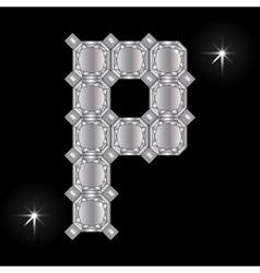 Metal letter p gemstone geometric shapes vector