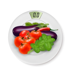 Scale With Vegetables Concept of Diet vector image vector image