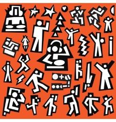 Dancing people - doodles set vector