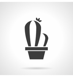 Flower pot black glyph style icon vector image