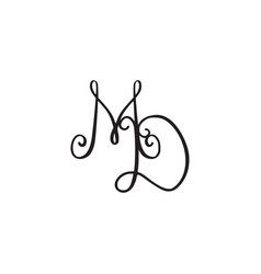 Handwritten monogram md icon vector