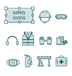Thin line icons set Safety vector image vector image