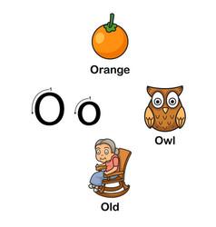 alphabet letter o-orange owl old vector image vector image