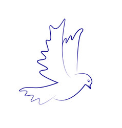dove icon flying dove vector image vector image