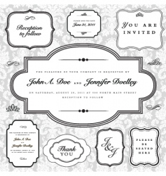 frame and ornaments set vector image vector image