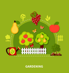 gardening tools flat composition vector image vector image
