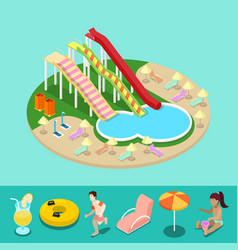 isometric aqua park with water slides and pool vector image